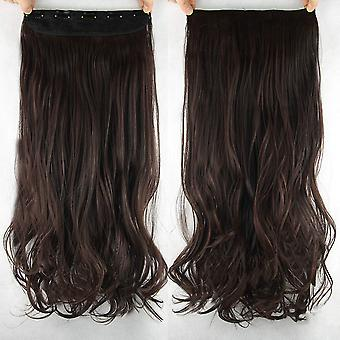 Hair Extensions extensie clip-on set krullend/donker bruin/rood #2/33