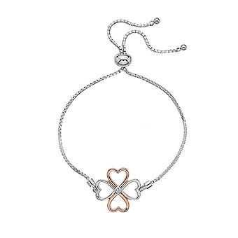 Hot Diamonds Sterling Silver Lucky In Love Rose Gold Accents Bracelet DL604