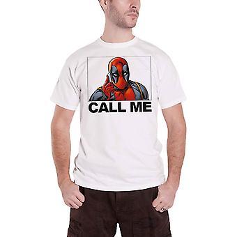 Deadpool T Shirt Deadpool Call Me Logo new Official Marvel Mens White