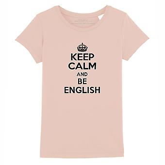 STUFF4 Girl's Round Neck T-Shirt/Keep Calm Be English/Coral Pink