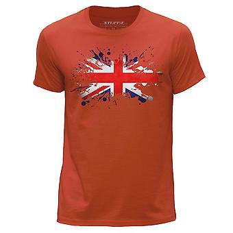 STUFF4 Men's Round Neck T-Shirt/UK Union Jack Flag/Orange
