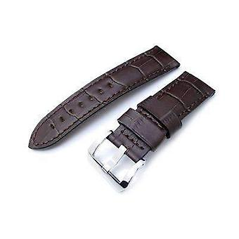 Strapcode crocodile grain watch strap 24mm crococalf (croco grain) matte brown watch strap with brown stitches, polished screw-in buckle