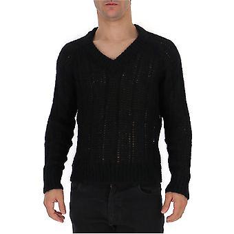 Prada Uma9921uz0f0002 Männer's schwarze Wolle Pullover