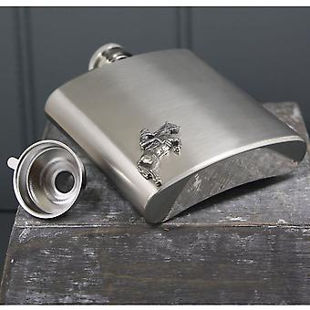 Equestrian Pewter Badge Stainless Steel Flask Set - 6oz