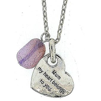 TOC 'Mum, My Heart Belongs To You' Lilac Charm Heart Pendant Necklace 18