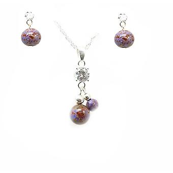 925 Silver Double Crystal & Purple Marbelised Ball Pendant & Earring Gift Set