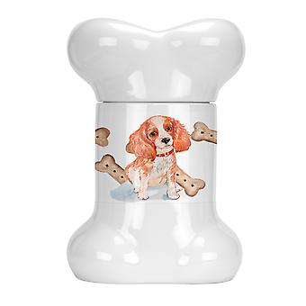 Carolines Treasures  CK2380BSTJ Cavalier Puppy Bone Shaped Treat Jar