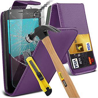 i-Tronixs Vodafone First 7 Case Cover PU Leather Flip Case + Glass Screen Protector -Purple