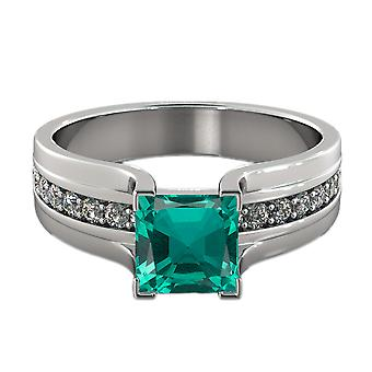 14K White Gold 1.20 ctw Emerald Ring with Diamonds Bridge Channel set Princess