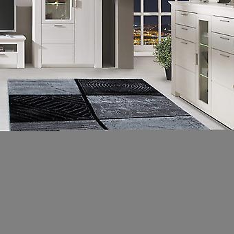 ShortFlor Designer Rug Modern Plaid Pattern Contour Cut Grijs Zwart Gesmolten