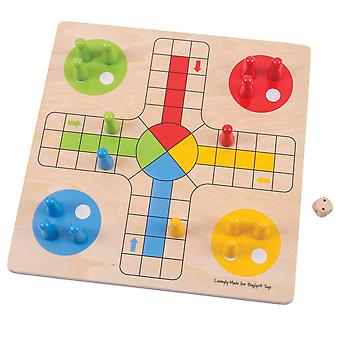Bigjigs Toys Wooden Traditional Ludo Toy Game Play Set