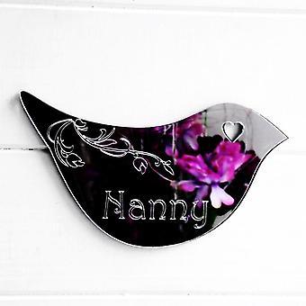 Floral Dove Acrylic Mirror Door or Wall Sign - NANNY