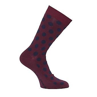 Nudie Jeans Co Olsson Burgundy & Navy Polka Dot Socks