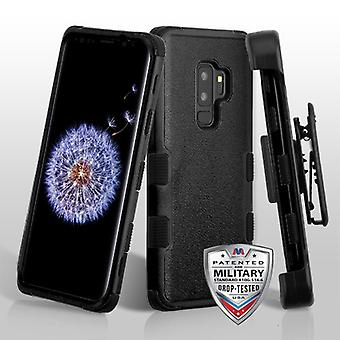 MYBAT Natural Black/Black TUFF Hybrid Phone Protector Cover(w/ Holster) for Galaxy S9 Plus
