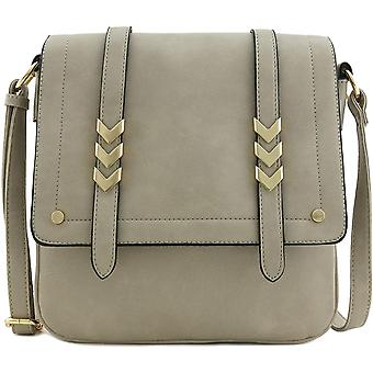 Double Compartment Large Flapover Crossbody Bag, Light Grey, Size One Size