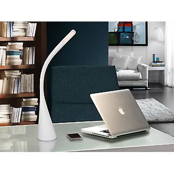 Schuller Lain - LED Tischlampe. Aus Polycarbonat, Silikon und Aluminium, glänzend weiße Farbe. Flexibler Arm. Einstellbare Intensität durch taktilen Schalter. USB-Anschluss für das Laden mobiler Geräte. 5W LED. 320 lm. 4.000 K. - 580919