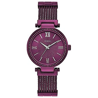 Guess W0638L6 Soho Purple Dial Stainless Steel Band Ladies Watch