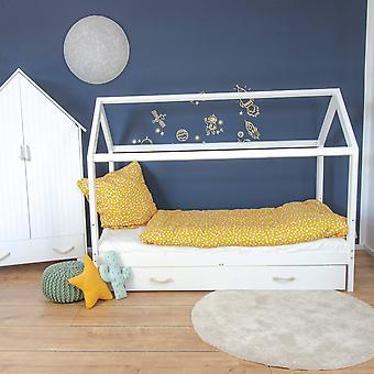 Carlotta cama de casa com cama inferior - 90x200 cm, proteção de perda removível em branco