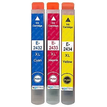 1 Juego de 3 cartuchos de tinta para reemplazar Epson T2438 (Serie 24XL) Compatible/no OEM de tintas Go (3 tintas)