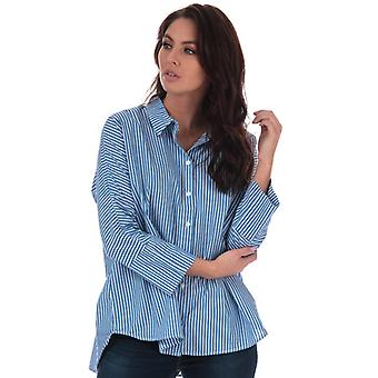 Women's Only Grace Striped Cotton Shirt in Blue