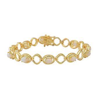 Opaal Tennis Bracelet Yellow Gold Plated Sterling Silver Size 8