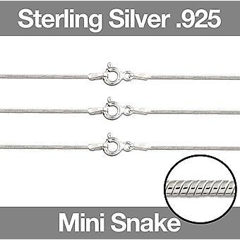 Sterling Silver .925 Ketting ketting Mini Snake Juweliersketen 16