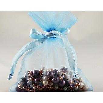 12 Small Baby Blue Organza Favour Gift Bags - 10cm x 12.5cm