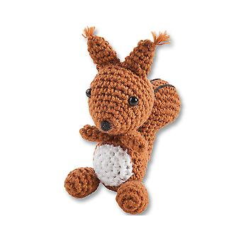 Kit to Make One Mini Crochet Squirrel For Adults & Older Kids