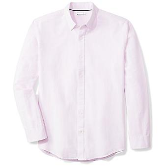 Essentials Men's Regular-Fit Long-Sleeve Solid Oxford Shirt, Pink, Small