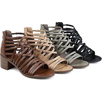 Brinley co. Womens Deyona faux leder Caged Criss-Cross hakken sandalen