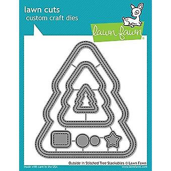 Lawn Fawn Outside In Stitched Christmas Tree Stackables Dies