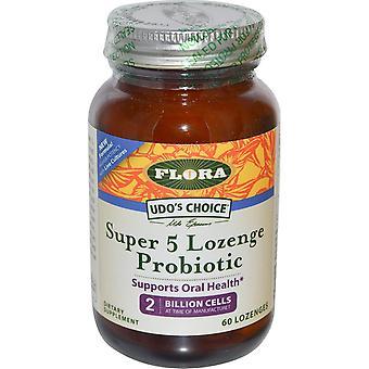 Flora, Choix d'Udo-apos;s, Super 5 Pastille Probiotique, 2 milliards de cellules, 60 pastilles