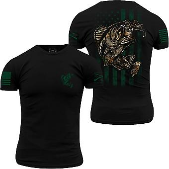 Grunt Stil Realtree Edge - Fisch Flagge T-Shirt - schwarz
