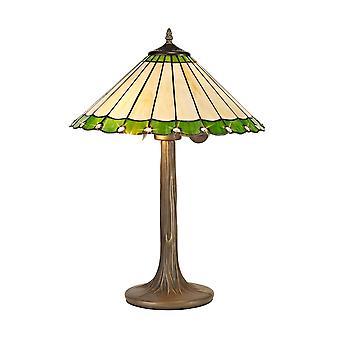 2 Albero chiaro come lampada da tavolo E27 con 40cm Tiffany Shade, Verde, Cristallo, Ottone Antico Invecchiato