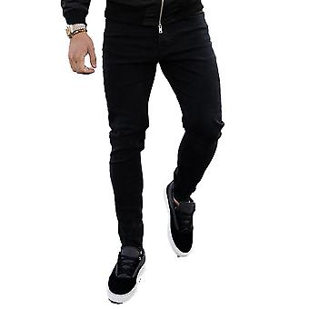 Nimes Non-Ripped Skinny Jeans - Black-30W 30L