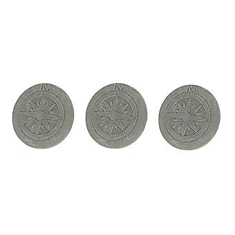 Set of 3 Compass Rose Design Natural Gray Finish Round Cement Stepping Stones / Wall Hangings 10 Inch Diameter