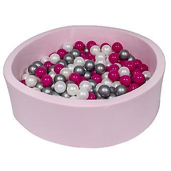 Różowy pit kulowy 90 cm z 300 kulkami z perły, fioletu i srebra