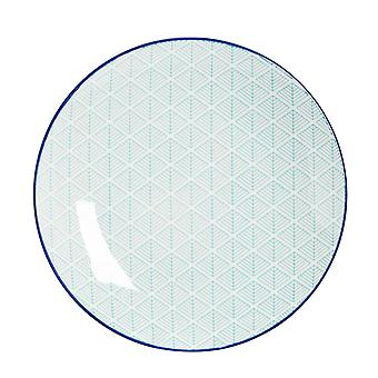 Nicola Spring Geometric Patterned Dinner Plate - Large Porcelain Dining Dish - Electric Blue - 26.5cm