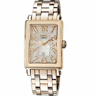 Gevril Kvinnor & apos, s 9345RB Avenue of America MOP Dial Rose-Gold IP Steel Datum Watch