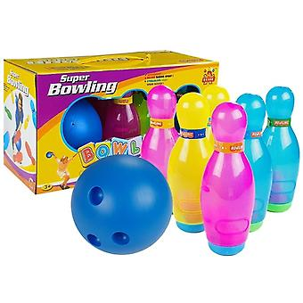 Toy bowling set - 6 pins & 1 bowling ball - colorful