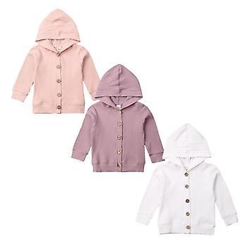 Baby Strikning Cardigan Efterår Varm Spædbarn Trøjer - Langærmet hætteklædte Coat