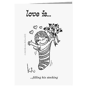 Liebe füllt seine Strumpf-Grußkarte