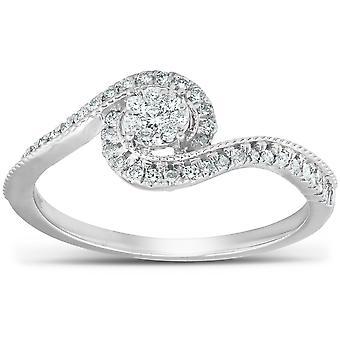 1/3 Ct Diamond Twist Halo Round Engagement Ring 10k Wit Goud