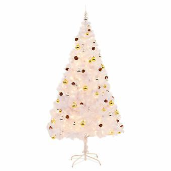Konstgjord julgran dekorerade bollar lysdioder 210 cm Vit