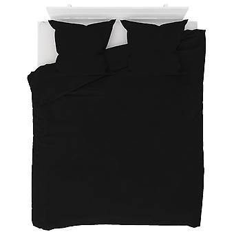 3 kpl. Vuodevaatesarja Fleece Musta 200 x 220 / 80 x 80 cm