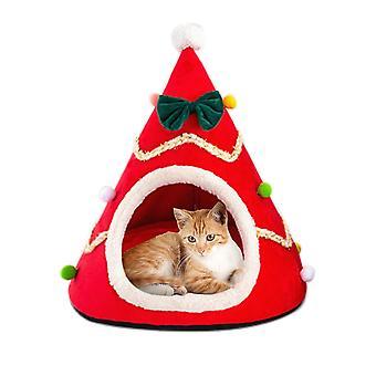 Katze Bett Weihnachten komfortable Plüsch Haustier Bett weichen kleinen Hund Bett waschbare Welpen Kissen Kennel tragbare warm Pet Korb liefert