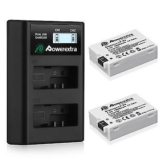 Baterie de înlocuire Powerextra 2 x lp-e8 și încărcător LCD dual compatibil cu canon rebel t3i, t2i,