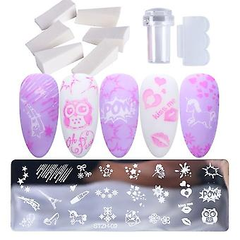 Nail Art Stamp Plate, Leaf Flower Dreamcatcher Snowflake Geometry Lace