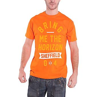 """جلب """"لي في الأفق رجالي تي قميص أورانج كبيرة نص"""" الفرقة الشعار الرسمي"""
