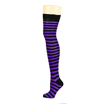 Flirt Striped Over The Knee Socks Black & Purple
